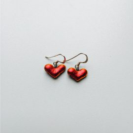 Candy apple red dichroic glass heart and sterling silver hook earring