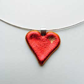 Cherry red dichroic glass heart with 24k gold heart detail on sterling silver twist choker