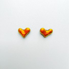 Orange dichroic glass and sterling silver stud