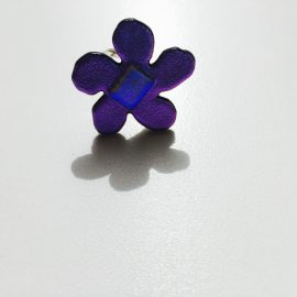 Purple dichroic glass flower and sterling silver adjustable ring - 1