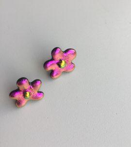 Vivid pink flower dichroic glass stud earrings