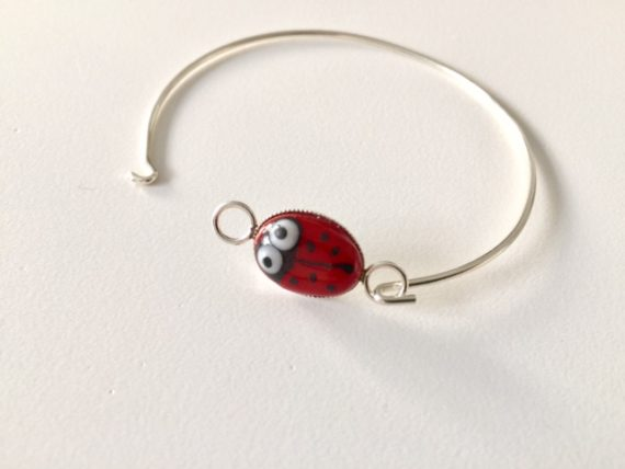 Ladybird Glass Sterling Silver Bracelet