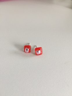 Red and silver stud