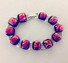 Hand crafted cobalt blue and silver link bracelet