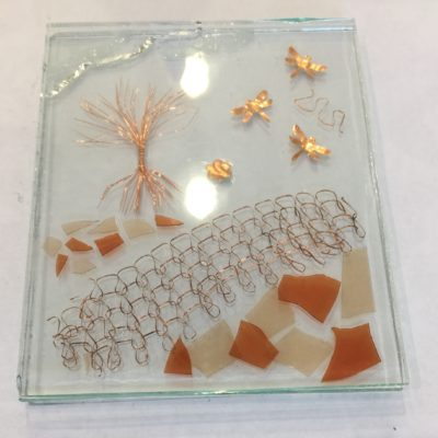 GLass plate with all copper detail and glass eggshell