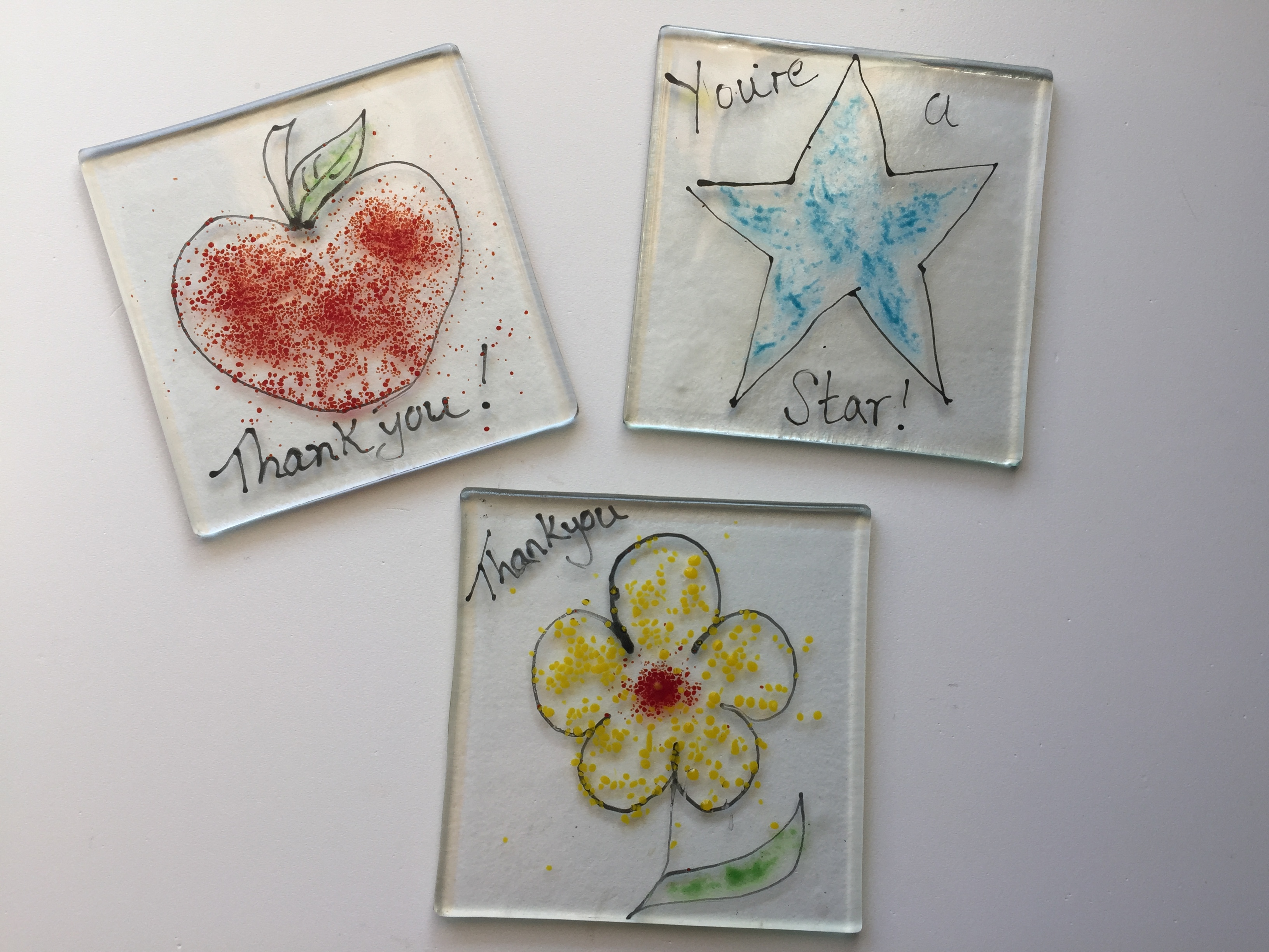 Thank you glass gift coasters