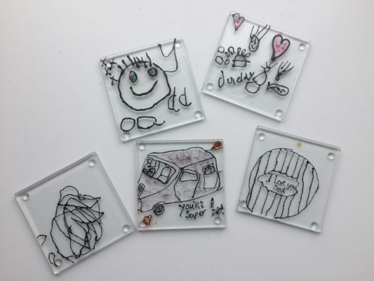 Line drawings fused into glass