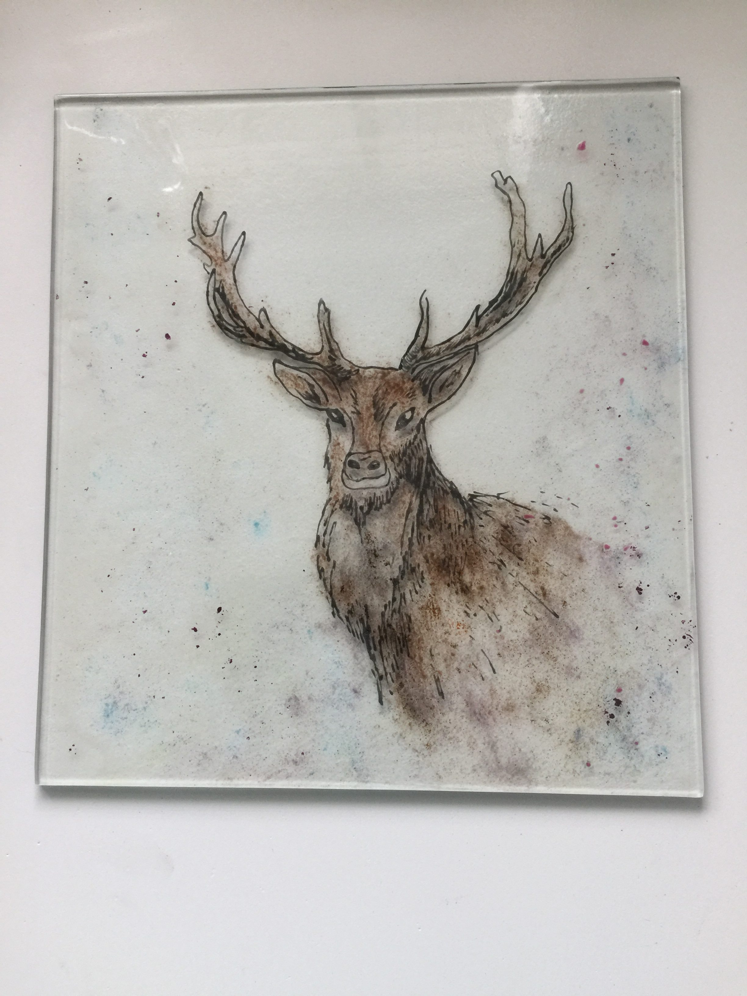 Hand drawn Stag on glass