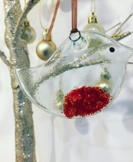 Fused glass robin Christmas tree Decoration