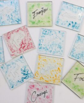 Word of The Year Fused Glass Coasters