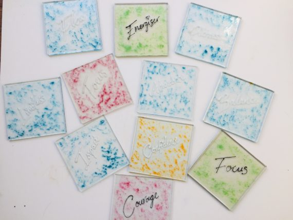fused hadnmade glass coasters
