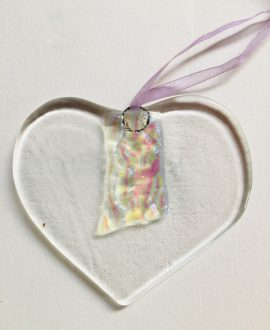 Glass heart hanger